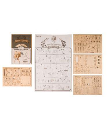 Cámara retro Puzzle 3D Objetos y animales