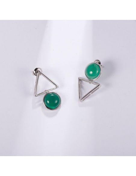 Triángulo de la Paz Verde con piedra ágata Pendientes
