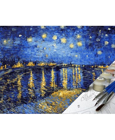 Noche Estrellada Sobre El Ródano de Vincent Van Gogh Pintura por números